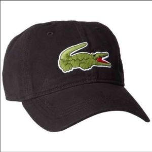New Lacoste Big Logo Black Unisex Hat Cap